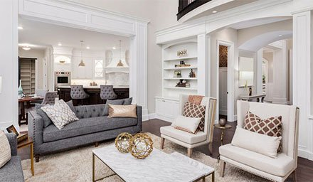 luxury family room with wainscoting wall decor
