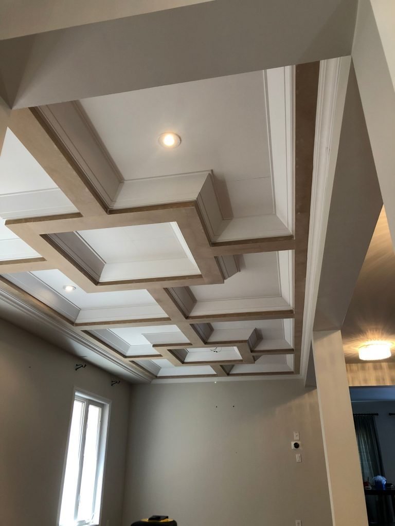 amazing waffle ceiling in classic living room