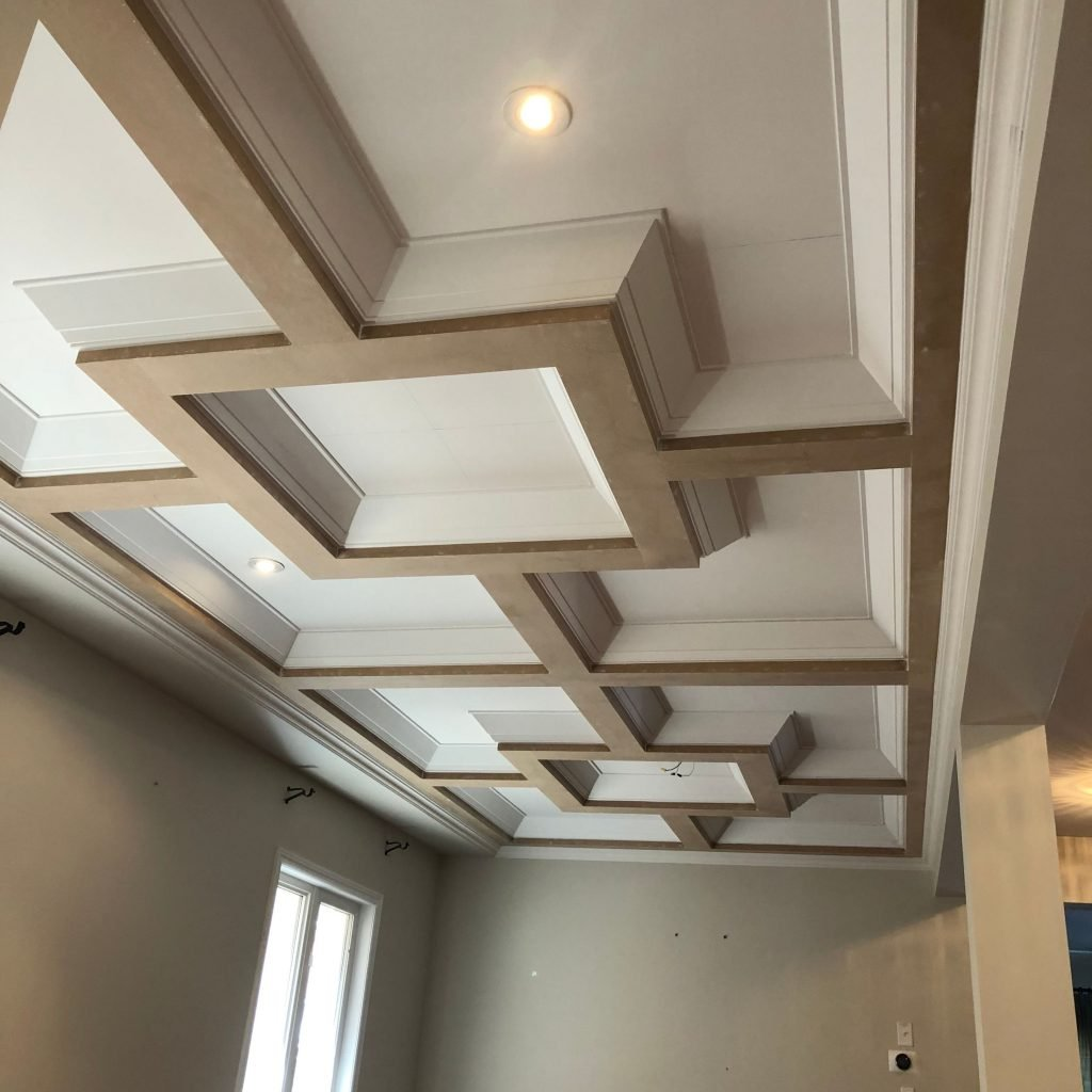 luxury waffle ceiling in custom family room by trim team
