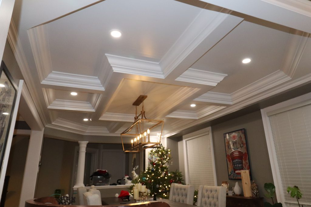 waffle ceiling design in custom dining room