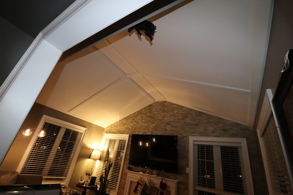 custom waffle ceiling in amazing family room