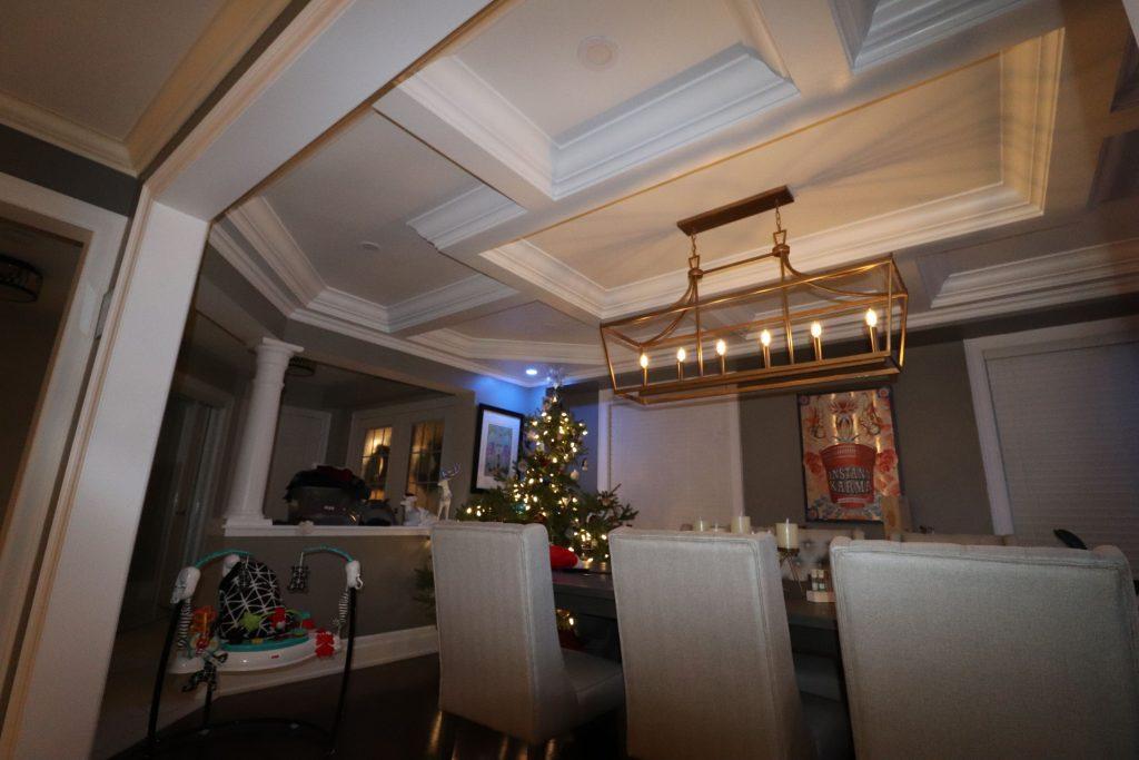 modern coffered ceiling in custom home