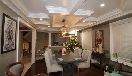 coffered ceiling in amazing dining room