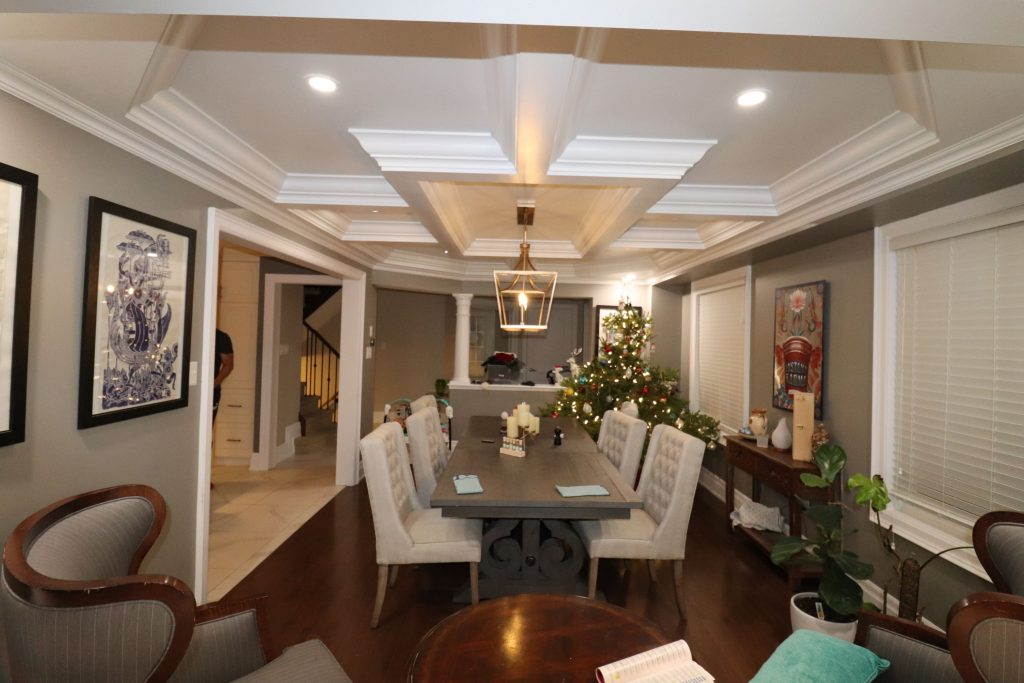 coffered ceiling installation by trim team