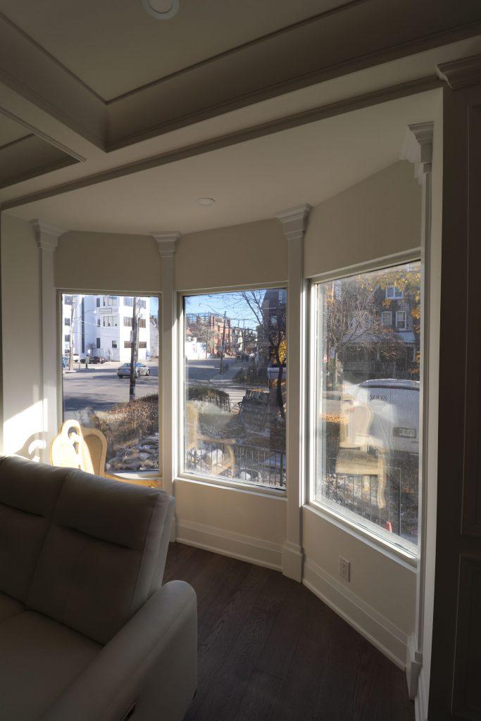 bow window in custom living room