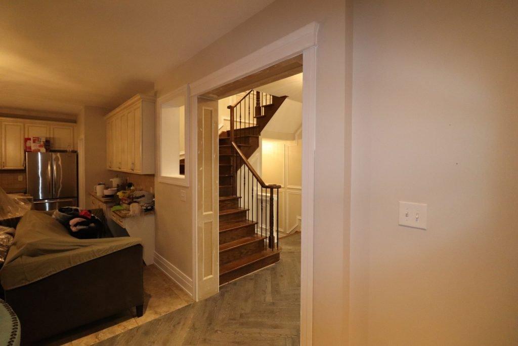 custom basement kitchen with baseboard trim