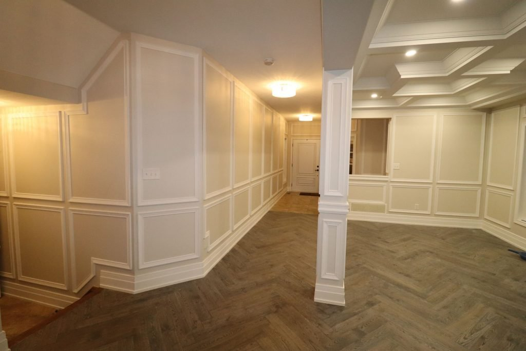 classic basement with baseboard trim