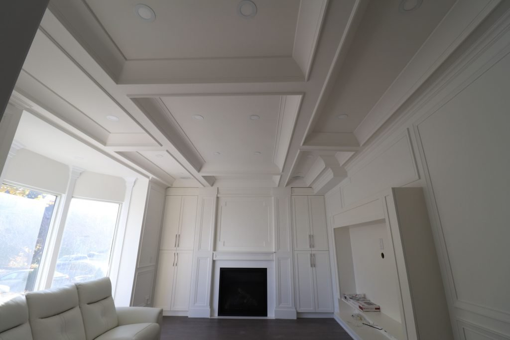 waffle ceiling installation in amazing family room